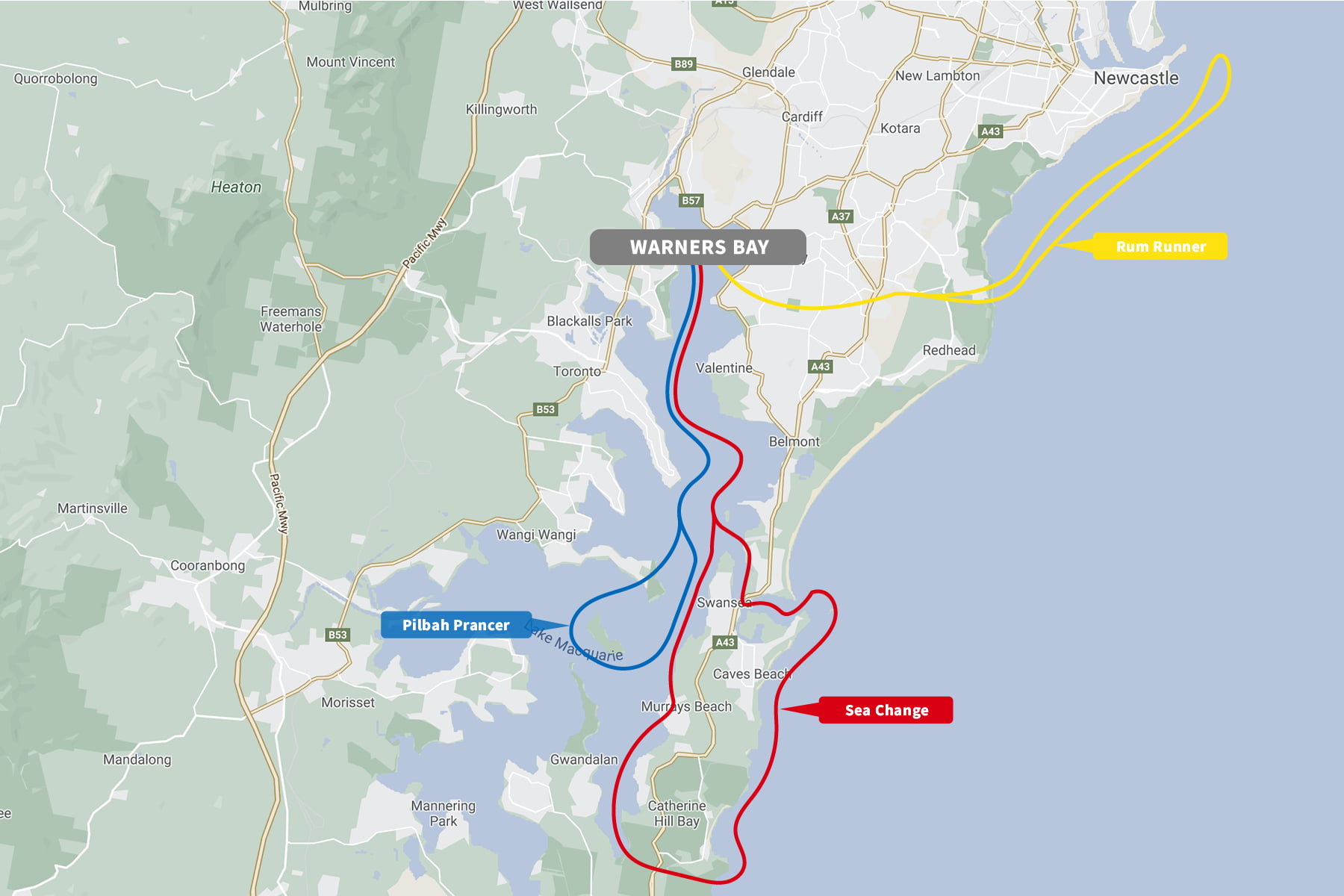 Warners Bay Route Map